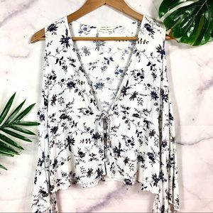 COTTON CANDY Floral Cold Shoulder Bell Sleeve Top